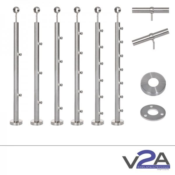Treppenpfosten mit Querstabhalter Kugelring  900-1100 mm Aufmontage-