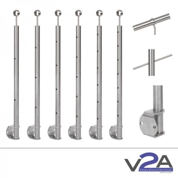 Treppenpfosten abgew. Bohrung, 900-1100 mm, Kugelring, Seitenmontage