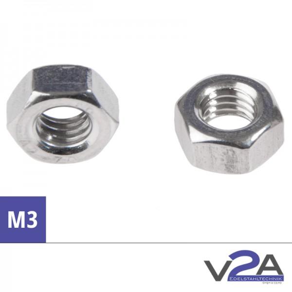 M3 Sechskantmutter, DIN 934, Edelstahl A2, V2A